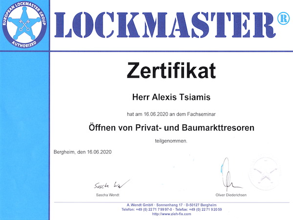 Zertifizierter Tresortechniker Dortmund